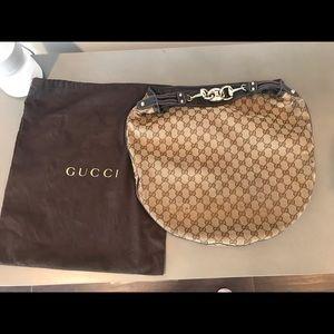 Authentic Gucci GG canvas Horsebit Catena Hobo